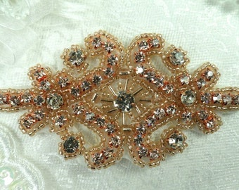 "Rose Gold Applique Beaded Crystal Rhinestone 4"" (XR15-rsglcr)"