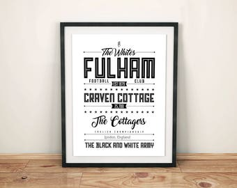 Fulham FC Poster; Typographic football team poster print