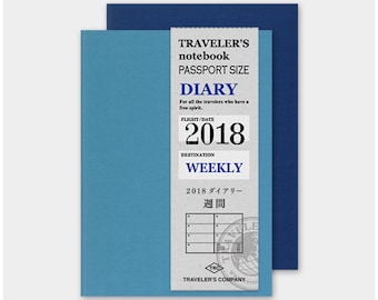 Travelers Notebook Weekly Diary Refill for 2018 - Passport Size
