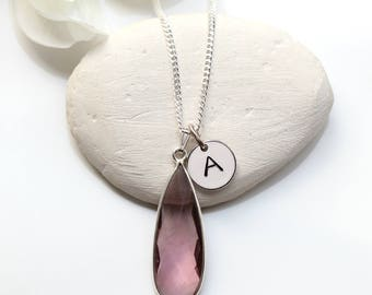 Pink Amethyst Sterling Silver Necklace -  Pink Amethyst February Birthstone Necklace - Personalized  Initial Amethyst  Necklace -  A26