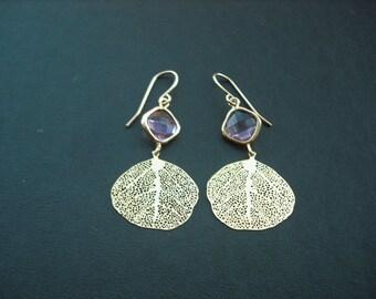 Bridesmaids gift, Wedding Gift, violet bezel and matte gold plated filigree leaf  earrings