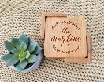 Personalized Coasters, Custom Coasters, Coaster Set of 6, Bamboo, Laser Engraved, Last Name, Wedding Gift, Present, Housewarming, New House