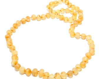 Authentic Raw Baltic Amber Necklace for Adult Honey Color Baroque Amber Genuine 44 - 45 cm Unpolished Amber Beads