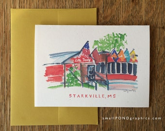 Little Dooey Restaurant Notecard - Downtown Starkville Mississippi - Single or Assorted Boxed Set