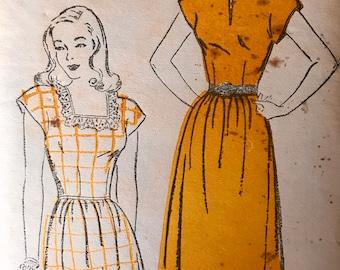 Vintage 1940's Dress Pattern---New York Pattern 874---Size 11  Bust 29   Factory Folded