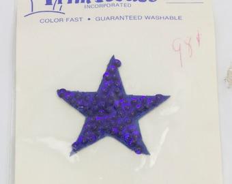 Vintage 1960's Sequin Applique Star - Blue