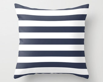 Nautical Stripes Pillow Cover, choose color, navy pillow, blue pillow, navy stripes pillow, coastal living, lake pillow, beach decor 4 sizes