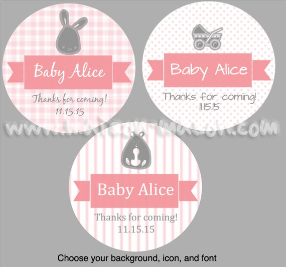 Personalized baby shower labels its a girl shower favor labels baby girl choose any color mason jar stickers 1 5 2 or 2 5 round from maisonmason