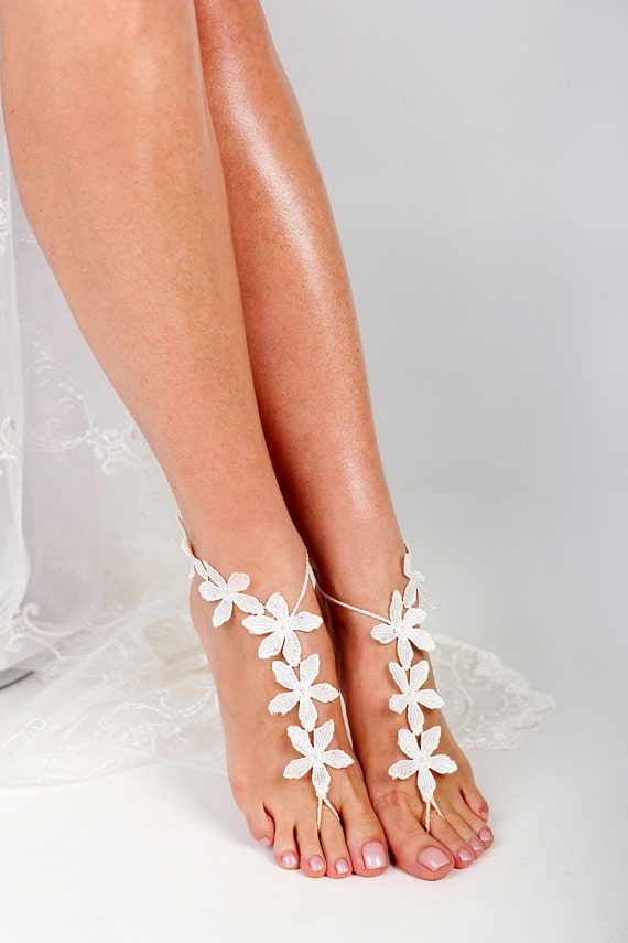 Lace Barefoot sandals Beach Wedding Foot Jewelry Anklet
