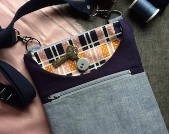 Light blue linen crossbody bag, shoulder purse, everyday bag