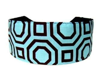 Bargain Headbands, Serenity Aqua and Brown Geometric Inspiration, Super Gorgeous Headband