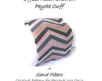 Peyote Pattern  - Offset Peach Chevron Cuff /  Bracelet - A Sand Fibers For Personal Use Only PDF Pattern - 3 for 2 Savings Program