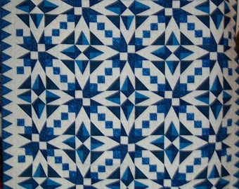 "Blue and White Lap or Wall Quilt - 68"" x 68"""