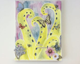 Tentacles in Spring - Watercolor - Mixed Media