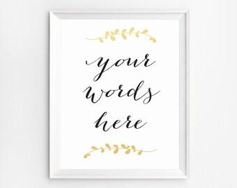 Custom Print, Personalized Printable, Personalized Wall Art, Custom Prints, Personalized Print, Typography Art, Gold Custom Gift, Laurels