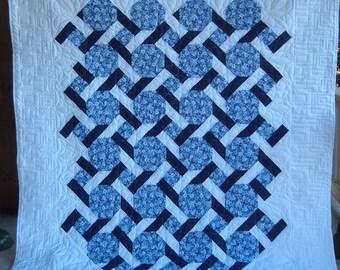 Queen Quilt - Blue Floral Garden
