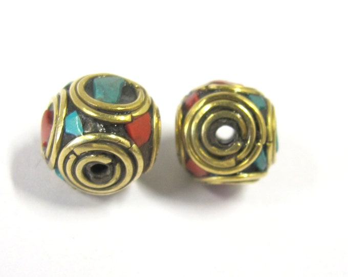 2 Beads -  Rondelle shape ethnic Nepal brass beads with turquoise coral inlay - BD817