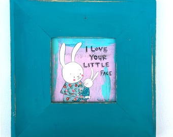 """I Love Your Little Face 3"""" x 3"""" Original Painting in Frame"""