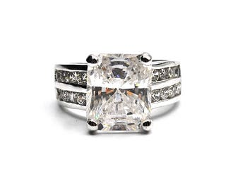 Sterling Silver Cushion Cut Cubic Zirconia Round CZ's Accent Ring