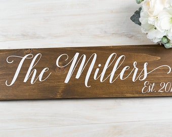 Bridal Shower Gift, Last Name Sign, Anniversary Gift, Gift for Bride, Wedding Gift, Engagement Gift, Personalized Wedding Gift, Wood Sign
