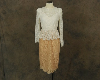 vintage 80s Lace Wiggle Dress - 1980s White and Pink Sheer Lace Peplum Cocktail Dress Sz S