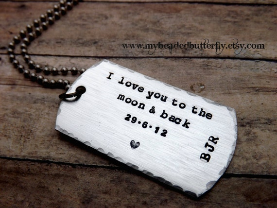 Dog tag necklace i love you to the moon and back mens mens mozeypictures Choice Image