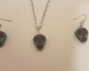 Turquoise And Purple Sugar Skulls Turquoise Necklace Jewelry   / Handmade Jewelry