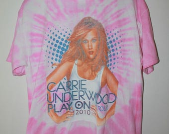 CARRIE UNDERWOOD size L vintage tour tee pink tie dye country graphic tee