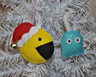 Pacman and Ghost Ornaments Or Keychain