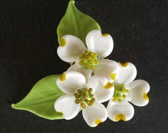 Dogwood Flowers White - Brooch/Necklace ~ Lampwork Glass Flower