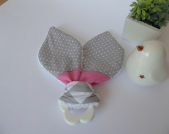 Teething ring with pink and gray fabric Bunny ear