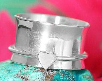 925 Sterling Silver Ring, Meditation Ring, Heart Spinner Ring, Wide Band, Spinning Ring, Boho Ring, Chunky Rings For Women, Gift For Her