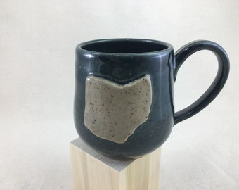 Ceramic Ohio Mug / Teacup / Hand-painted / Red / Navy / Wheel Thrown Mug - READY TO SHIP