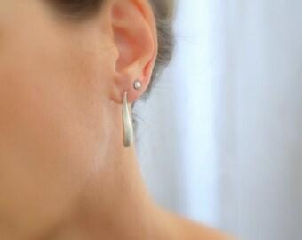 Sterling silver wave earrings, Silver post earrings, Minimalist silver earrings, Simple sterling silver jewelry