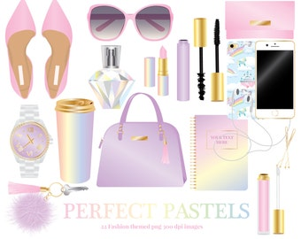 Pastel Fashion Accessories Clipart, shoes, sunglasses, purse, watch, lipstick, mascara, perfume, phone