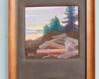 Small Leather and Wood Framed Oil Painting on Copper of Driftwood Beach Logs in Alaska Islands Sunset OOAK metallic art