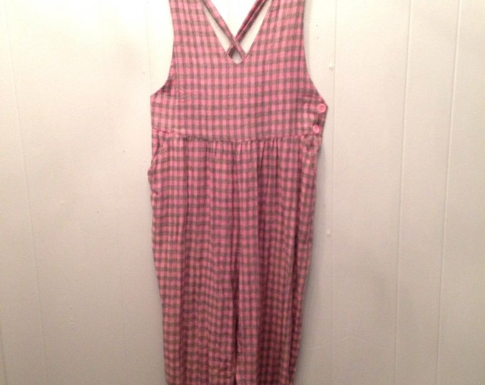 1980's cotton jumper pink and grey, criss crossed back