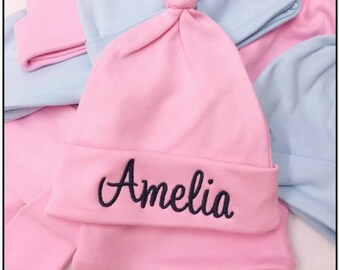 Personalised Baby Hat, New Born Hat, Knotted Baby Hat, Baby Hat, Pink Baby Hat, Blue Baby Hat, Named Baby Hat
