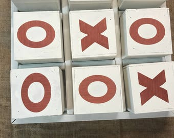 Oversized Handcrafted Wooden  Tic Tac Toe  Game.