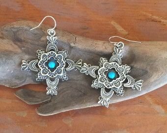 E309A The PDL Cross sterling silver with framed turquoise southwestern style earrings