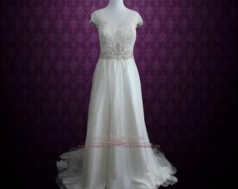 Boho Beach Wedding Dress Chiffon Wedding Dress with Lace | Amilia