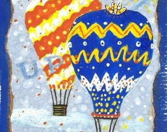 Original Painting * UP UP And AWAY Hot Air Balloons * Small Art Format * Colorful Art By Rodriguez