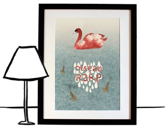 Rare bird poster print of an original illustration, A3, dreamlike Swan between sky and Lake
