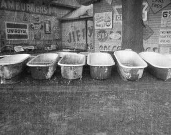 Unique bathtubs black and white photo- digital art- photography- retro and vintage look