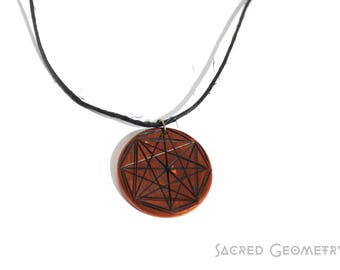 Wood Pyrography Sacred Geometry Necklace (choose or request your own)