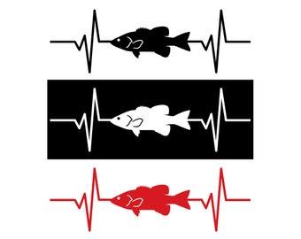 Smallmouth Bass Fish Heartbeat Decal / Sticker - IDS-073