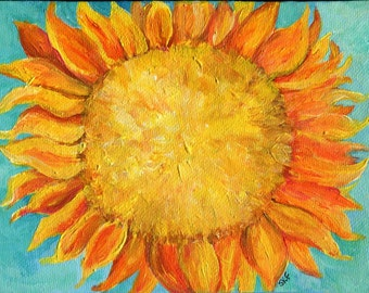 original painting -- Sunflower painting 5 x 7 sunflower decor, painting of sunflower, Sunflower Art, sunflower acrylic painting canvas art