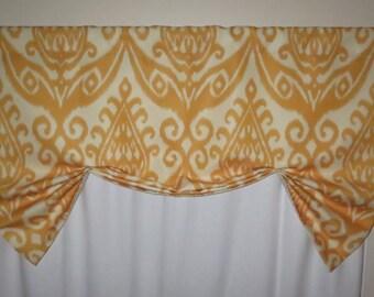 Yellow window valance, butterfly valance, lined window valance, decorative valance, lined yellow valance, window curtain, window treatment