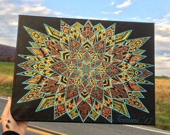 TigersEye Kaleidoscope ~ metallic mandala acrylic on canvas - sacred geometry