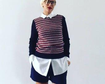 VINTAGE 1980's Metallic Knit Jumper Sweater